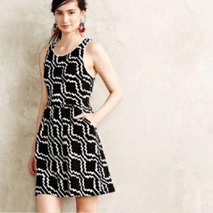 Anthropologie Postmark Lantana Black White Dress